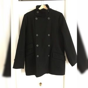 CLUB MONACO Black Wool Oversize Peacoat